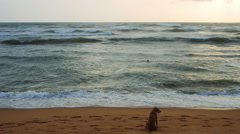 Young girl swimming in ocean with her dog waits on the beach, Sri Lanka Stock Footage