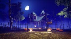 Spooky Halloween house at misty night Stock Illustration