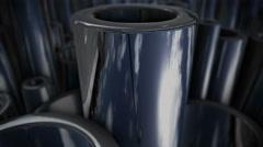 Many shiny steel pipes. Stock Footage