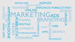 Marketing, branding word tag cloud - white, Italian variant Stock Footage