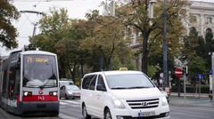 VIENNA, AUSTRIA - October 12,2016. View of city's life - traffic in centre Stock Footage