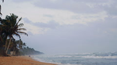 Sri Lanka beach view near Indian ocean in twilight Stock Footage