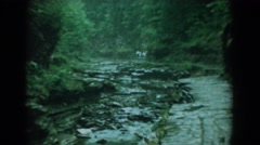 1958: water flowing over the rocks of a creek bed. YORKTOWN VIRGINIA Stock Footage