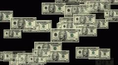 4k Float 10 dollars money wealth background. Stock Footage