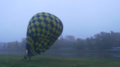 Filling the Balloon With Hot Air. Prelaunch Work. Light a Fire, Blue Yellow Stock Footage