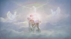 Bible Verse PSALM 91:4 with Jesus giving a hug Stock Footage
