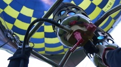 Balloon Control With Burner, Filling Hot Air Balloon, Bottom View Stock Footage