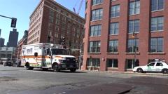 A Boston EMS Ambulance on an emergency call in Boston, MA. Stock Footage