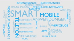 Smart, mobile, applications word tag cloud - white, German variant Stock Footage