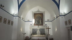 Tilt down shot of the catholic church on mykonos, greece Stock Footage