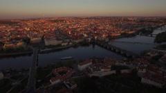 Panorama of Prague and Vltava river, aerial view Stock Footage