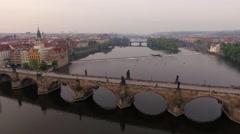 Flying over Charles Bridge in Prague, Czech Republic Stock Footage