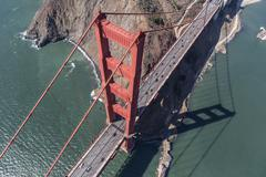 Golden Gate Bridge Tower and Marin Headlands Aerial Stock Photos