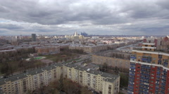 Aerial shot of Moscow on cloudy day, Russia Stock Footage