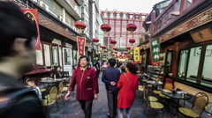 Walking at the Wangfujing Snacks street, Beijing, China Stock Footage
