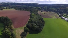 Aerial view over gorgeous British countryside. Stock Footage