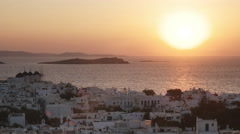 Sunset at the town of chora on mykonos, greece Stock Footage