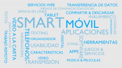 Smart, mobile, applications word tag cloud - white, Spanish variant Stock Footage