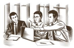 Business partners discussing documents and ideas at meeting Stock Illustration