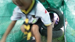 Student 7-8 years old, Welcome to Boy Scout camp Stock Footage