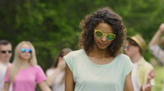 Cool clip, biracial singer dancing and flirting at camera, summertime and party Stock Footage