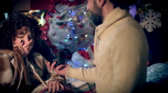 4k Christmas and New Year Holiday Man Proposing Engagement to Woman Stock Footage