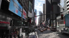 Aerial low angle shot of Time Square NYC New York City Manhattan street Arkistovideo
