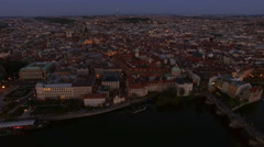 Aerial shot of Prague in the dusk, Czech Republic Stock Footage