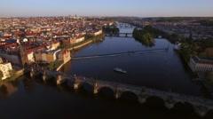 Prague aerial view with Charles Bridge, Czech Republic Stock Footage