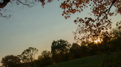 Farm in Connecticut, New England Rural Sunset at Autumn Stock Footage