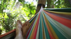 Hammock Jungle Oasis Paradise Relaxation POV Holiday 5K HD Stock Video Footage Stock Footage