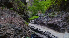 Beautiful landscapes of Barranco del Infierno in Tenerife. Canary islands, Sp Stock Footage