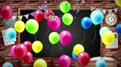 Animation of back to school blackboard background kid party celebration Stock Footage