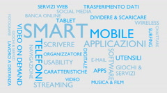 Smart, mobile, applications word tag cloud - white, Italian variant Stock Footage