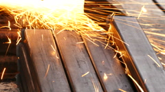 Splashes of sparks and cut pipes Stock Footage