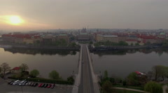 Flying over river to Jan Palach Square in Prague Stock Footage