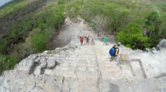 Editorial of people climb big stairs at Ek Balam Mayan ruins in Mexico Stock Footage