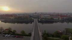 Aerial view of Prague with Manes Bridge Stock Footage