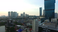 Panned view to the right of Jakarta business district Stock Footage