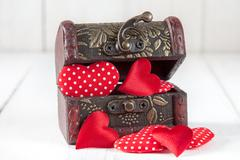 Wooden box with a little hearts Stock Photos