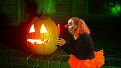 Clown on halloween cool Stock Footage