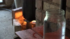 Last stage of illegal hooch alcohol production in rural farm room. 4K Stock Footage