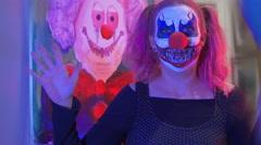 4k clown waving wave funhouse halloween Stock Footage