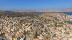 Symi - Aerial footage of the heart of the village Stock Footage
