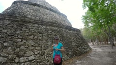 Tourist visiting Ek Balam Mayan ruins in Mexico Stock Footage