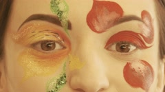 Girl, smile, studio makeup with stylish brush, slow motion, 4K, UHD, UltraHD Stock Footage