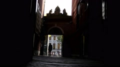 AMSTERDAM, NETHERLANDS - view of street - people, silhouette Stock Footage