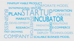 Startup, incubator word tag cloud - white, English variant Stock Footage