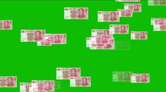 4k Float looming 100 RMB bills money wealth background. Stock Footage