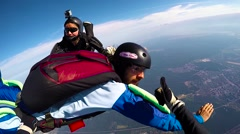 Skydivers jump out from airplane, editorial Stock Footage